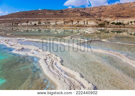 The evaporated salt on the shallow coast of the Dead Sea, Israel. The concept of medical and ecological tourism