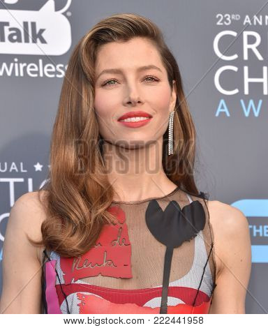 LOS ANGELES - JAN 11:  Jessica Biel arrives for the 23rd Annual Critics' Choice Awards on January 11, 2018 in Santa Monica, CA