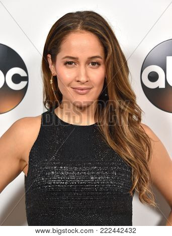 LOS ANGELES - JAN 08:  Jaina Lee Ortiz arrives for the ABC Winter 2018 TCA Event on January 08, 2018 in Pasadena, CA