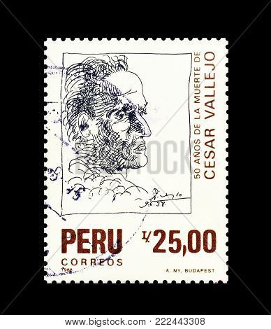 PERU - CIRCA 1988 : Cancelled postage stamp printed by Peru, that shows portrait of Cesar Vallejo.