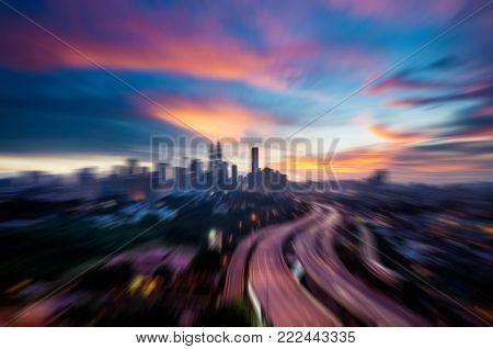 Zoom Kuala Lumpur city Malaysia, sunset.