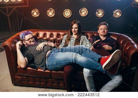 Happy friendship, threesome ha-ha on sofa