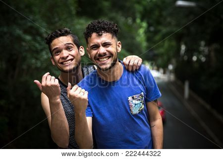 Homosexual Couple Gesturing Hands - Come Here/Invitation