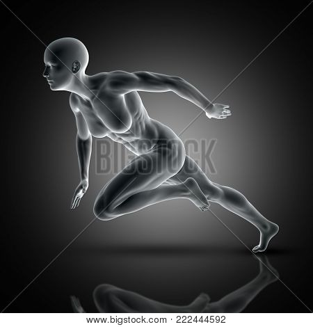 3D render of a muscular female in sprinting pose