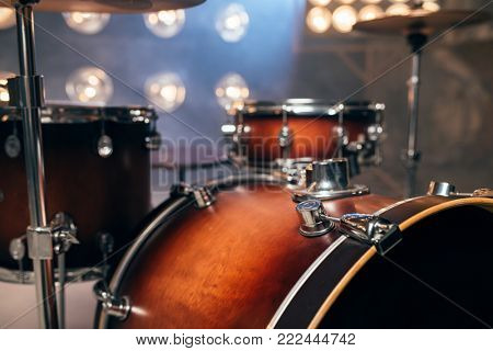 Drum-kit, drum-set, percussion instrument, nobody