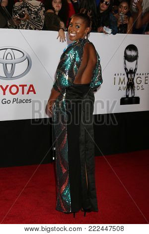 LOS ANGELES - JAN 15:  Issa Rae at the 49th NAACP Image Awards - Arrivals at Pasadena Civic Center on January 15, 2018 in Pasadena, CA