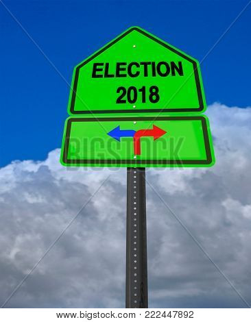 conceptual sign election 2018 left or right over dramatic  blue sky
