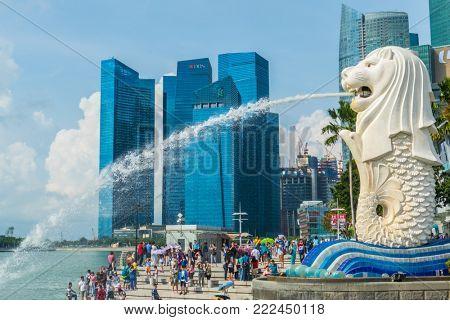 Singapore City, Singapore - 07 19 2015: Merlion Statue, The National Symbol Of Singapore And The Tourists Around It.