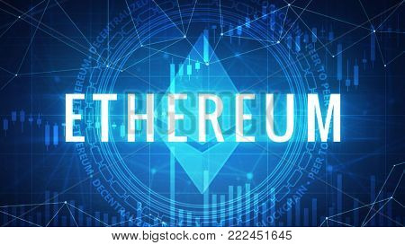 Ethereum symbol on futuristic hud background with cryptocurrency stock market chart and blockchain polygon peer to peer network. Global cryptocurrency business banner concept.