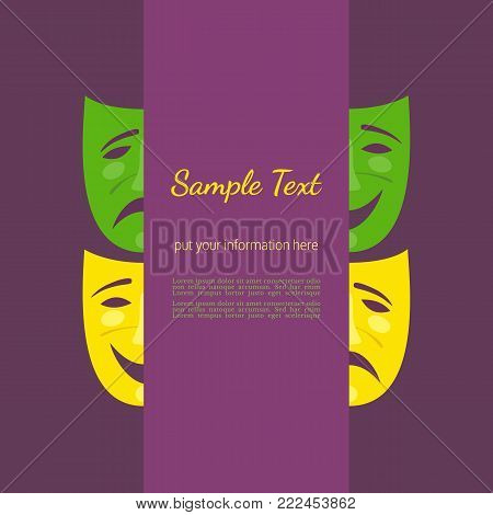 Theater abstract masks poster. Flyer template. Freehand drawn simple flat cartoon. Decorative festival event banner background. Carnival comic mask icon. Venice Masquerade symbol. Vector illustration