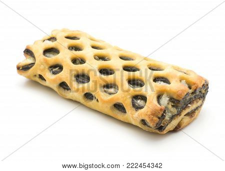 One lattice bread sweet with coconut and chocolate inside isolated on white background fresh baked