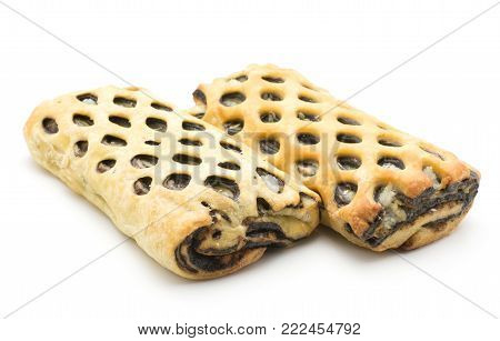 Two lattice breads with coconut sweet chocolate inside isolated on white background fresh baked