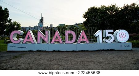 MONTREAL-CANADA, sept 9, 2017:  Canada sign in downtown Montreal to celebrate the 150 anniversary of Canada