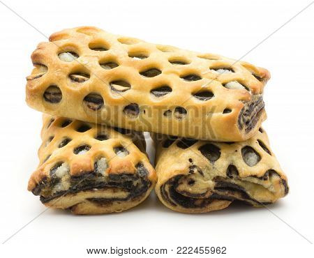 Three lattice breads set with coconut and chocolate isolated on white background fresh baked