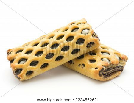 Two lattice breads set with coconut and chocolate isolated on white background fresh baked