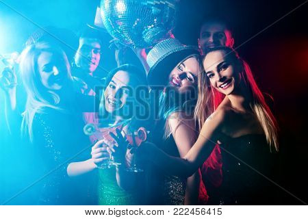 Dance party with group people dancing. How to be an alpha male at a club. Women and confident casual smiling man have fun in night club. Seduce boozy woman cuddles up guy. Rest after hard day at work.