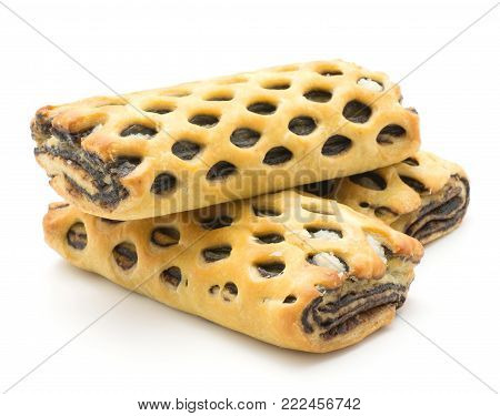 Lattice breads set isolated on white background fresh baked three with coconut and chocolate