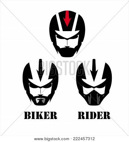 Man with the helmet, masker & sunglasses, Racer.Biker. Rider. Pilot. Head. Artwork. Warrior Mascot.  Suitable for team identity, insignia, mascot, sport team icon, apparel, biker community, etc .