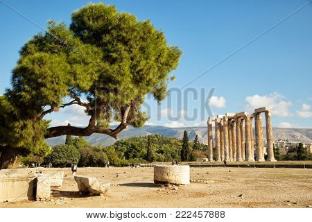 The Temple of Olympian Zeus is a monument of Greece and a former colossal temple at the centre of the Greek capital Athens