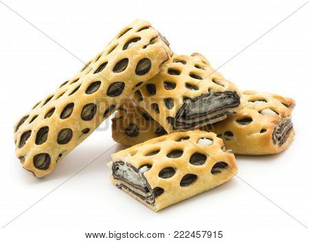 Lattice bread set with coconut and chocolate isolated on white background fresh baked