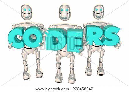 Coders Computer Programming Developers Robots 3d Illustration