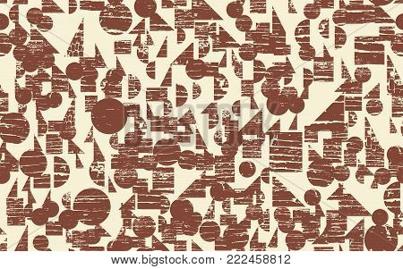 Seamless Abstract Art Background with Textured Geometric Elements, Rhythmic Textured Endless Pattern, Grunge Print Design with Dirt Brush Painting, Continuous Grunge Geometric Background