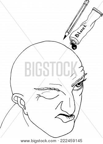 Portrait of hairless men.Freehand sketch drawing for adult antistress coloring book