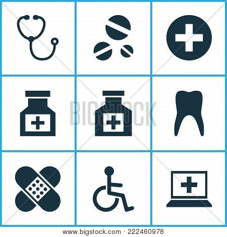 Antibiotic icons set with painkiller, drug, plus and other cure elements. Isolated vector illustration antibiotic icons.