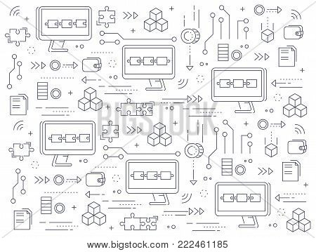 Blockchain concept pattern. Crypto currency technologie process abstract illustration in thin line style. Computers chained to network exchange information.