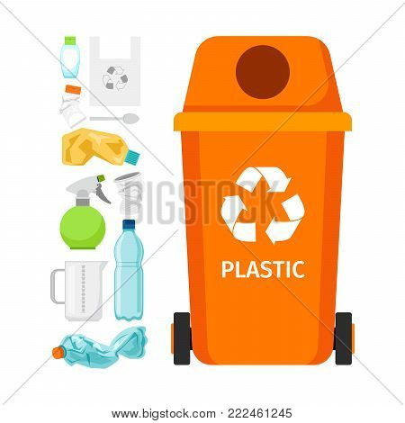 Orange garbage can with plastic garbage elements, vector illustration