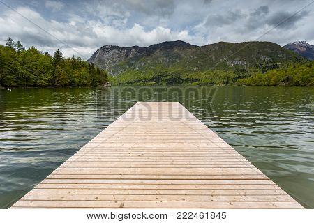Pier On The Beautiful Lake Bohinj, Julian Alps,