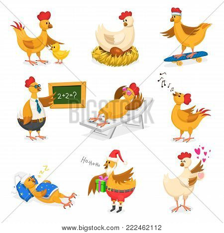 Chicken vector cartoon chick character on Christrmas or Valentines day party and hen in Santa hat with xmas gift fo kids and rooster in love with lovely hearts illustration isolated on white background.