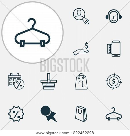 E-commerce icons set with rich, pannier, peg and other pannier elements. Isolated vector illustration e-commerce icons.