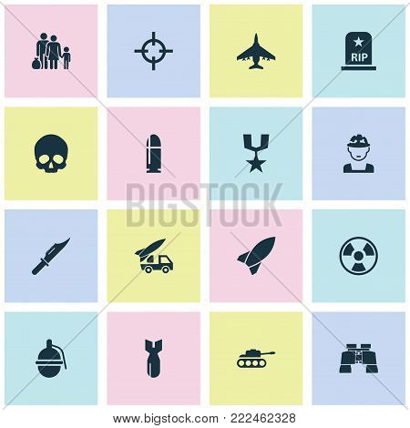 Warfare icons set with military, rip, fugitive and other cranium elements. Isolated vector illustration warfare icons.