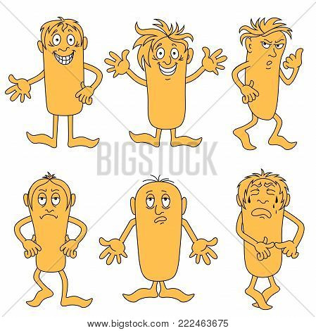 Set of six funny male characters with various grimaces, cartoon vector illustrations isolated on the white background