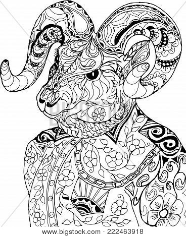Portrait of a goat in a shirt. Freehand sketch drawing for adult antistress coloring book