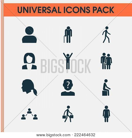 People icons set with businesswoman, network, gentlewoman head and other happy elements. Isolated  illustration people icons.