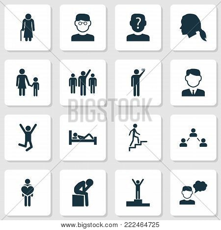 Human icons set with family, photographed, jumping human and other work man elements. Isolated  illustration human icons.