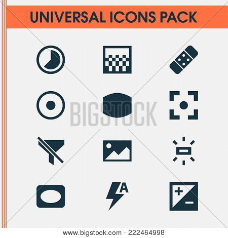 Photo icons set with mode, plaster, picture and other frame elements. Isolated  illustration photo icons.
