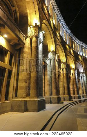 Building on Republic Square at night. Until 2016 this building housed the Ministry of Foreign Affairs of Armenia. Now there is a reconstruction.