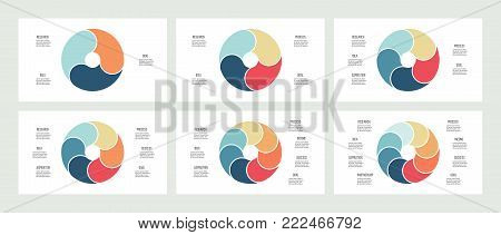 Business infographics. Pie charts with 3, 4, 5, 6, 7, 8 steps, sections. Vector templates.