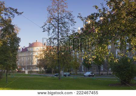 Poland, Radom, Planty Settlement, sunlit, afternoon light