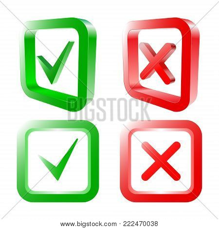 Tick and cross signs. Green checkmark OK and red X icons, isolated on white background. 3D design. YES and NO. Vector illustration