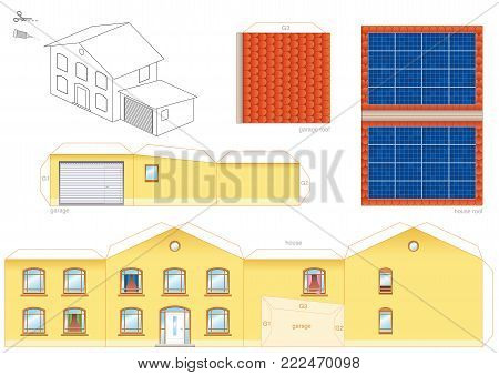 Papercraft model of a house with solar thermal collector on the roof, photovoltaic technology - cut-out sheet for making a scale model house and for promotion of ecological education.