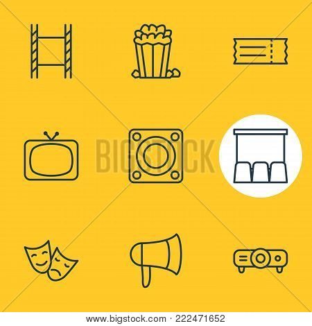 Vector illustration of 9 cinema icons line style. Editable set of tragedy, hall, tv and other elements.