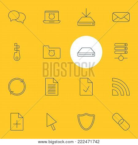 Vector illustration of 16 internet icons line style. Editable set of letter, refresh, checked note and other elements.
