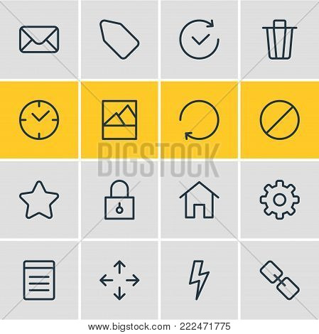 Vector illustration of 16 application icons line style. Editable set of clock, time, document and other elements.