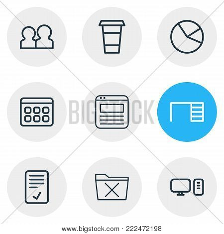 Vector illustration of 9 bureau icons line style. Editable set of calendar, browser tab, desk and other elements.