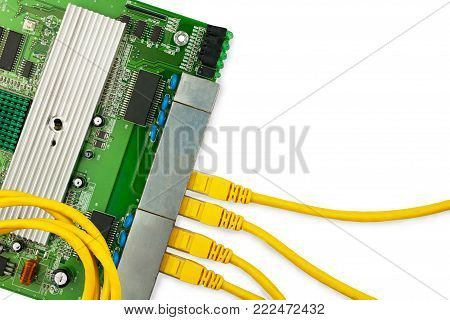 Ethernet switch board with 4 yellow patch cords and circle patchcord on the top. There are place for text in the right.