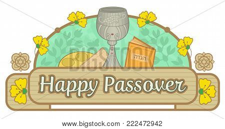 Happy Passover decorative banner with Passover symbols. Eps10
